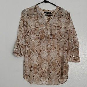 Apt.9 snakeskin sheer tunic top